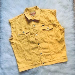90s Vintage Guess USA Yellow Denim Vest Jacket